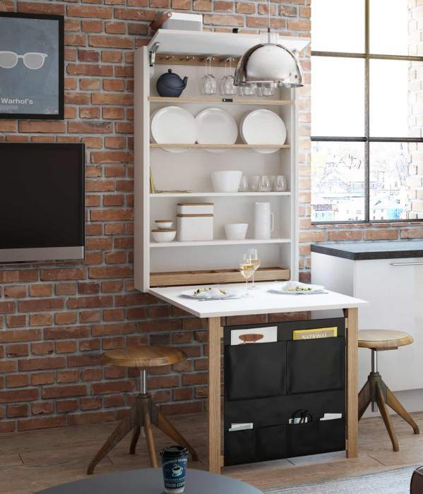 Uttrekkbart kjøkkenbord og -hylle fra Norema Kjøkken